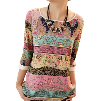 YBC Women Summer Lace Printed Long Sleeves Blouse Loose Casual Wear