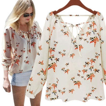 YBC Women V-neck Floral Chiffon Blouse Long Sleeve Loose Shirts