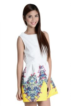Yellow And Flowers Dress By Fashion Haus Online (White/Yellow)