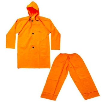 Yellow PVC/Nylon Hooded Rain Jacket & Pants Waterproof Rain Outdoor and Road Protection