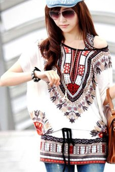 Yidabo New Stylish Women's Batwing Sleeve Loose Bohemian Style Chiffon Casual T-shirts Tops Blouse (white)