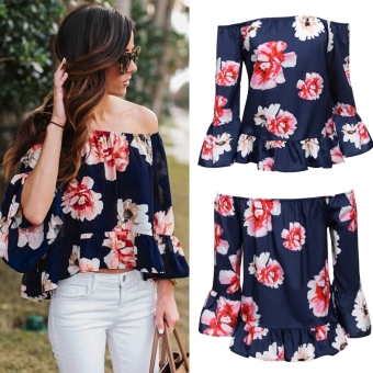 Yidabo Sexy Women Off Shoulder 3/4 Sleeve Floral Ruffles Blouse Tops Price Philippines
