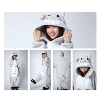 Yika My Neighbor Totoro Adult Unisex Pajamas Cosplay Costume OnesieSleepwear S-XL (Gray) - 3