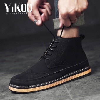 YIKOO Bullock Retro Genuine Leather Men's Formal Shoes Casual Boots Black - intl