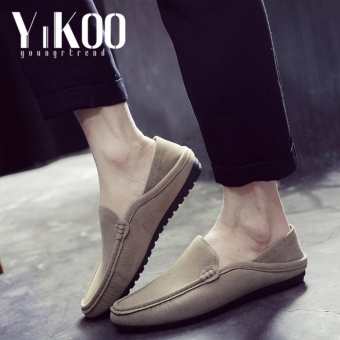 YIKOO Fashion Men's Leather Driving Shoes Casual Slip-Ons &Loafers Formal Shoes England style (Khaki) - intl