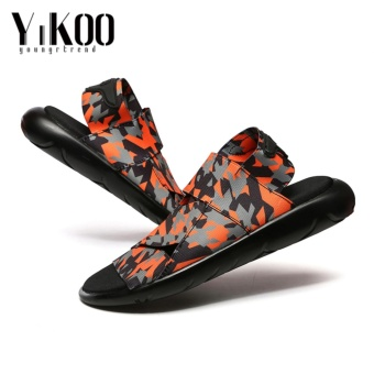 YIKOO Men's Sandals Beach Sports And Leisure Shoes Men Shoes Roman Youth Korean Slippers Orange - intl