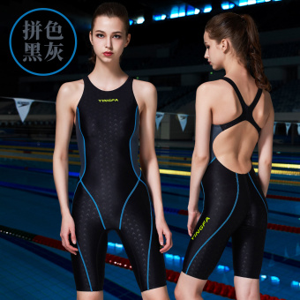 Yingfa female professional tournament one-piece swimsuit (Spell color black and gray)