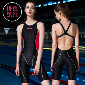 Yingfa female professional tournament one-piece swimsuit (Spell color black and red)