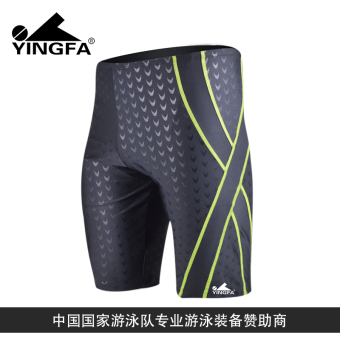 Yingfa men short quick-drying Plus-sized swimming trunks (Black and yellow [Y3028-2]-professional drain line models-buyers favorite)