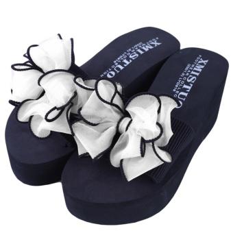 YingWei Lady Wedge Slipper Butterfly Flower Beach Shoes High HeelSandals (White) - intl - 3