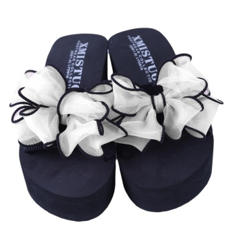 YingWei Lady Wedge Slipper Butterfly Flower Beach Shoes High HeelSandals (White) - intl - 5