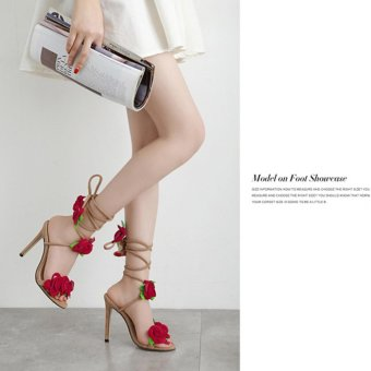 YingWei Women New Fine with Roman Cross Wind Belt Sexy BeachSandals Comfortable Roses Crossed High Heels(Apricot) - intl - 2