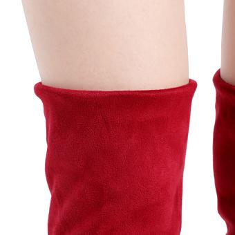YingWei Women Winter Boots Anti-Skidding Inner Heighten Flat BottomHigh Knee Long Boots Red - 5