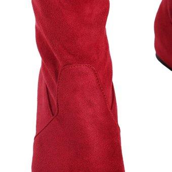 YingWei Women Winter Boots Anti-Skidding Inner Heighten Flat BottomHigh Knee Long Boots Red - 4