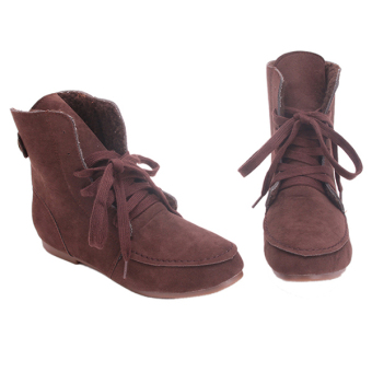 Yingwei Women Winter Cotton Flat Short Boots Brown