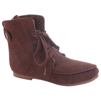 Yingwei Women Winter Cotton Flat Short Boots Brown - 4