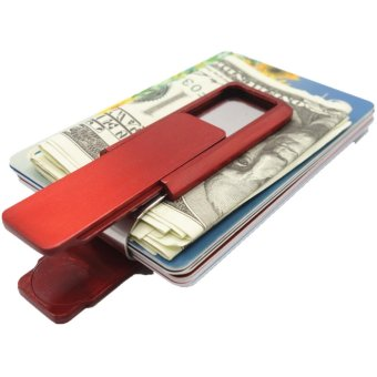 Yixiangqing Stainless Steel Slim Money Clip Wallet Credit CardHolder Red - intl