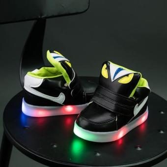 YL The New Children 's LED Lights In The Spring of Sports ShoesBoys and Girls Leisure Students Baby Shoes(Black) - intl