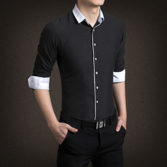 YMV Men's Korean-style Business Long Sleeve Solid Color Shirt (C09 black)