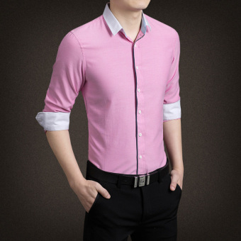 YMV Men's Korean-style Business Long Sleeve Solid Color Shirt (C09 Powder)