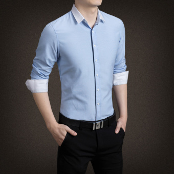 YMV Men's Korean-style Business Long Sleeve Solid Color Shirt (C09 sky blue version1)