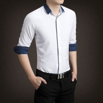 YMV Men's Korean-style Business Long Sleeve Solid Color Shirt (C09 white)