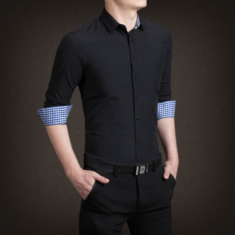 YMV Men's Korean-style Business Long Sleeve Solid Color Shirt (C13 black)