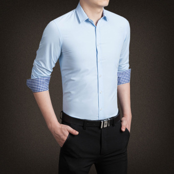 YMV Men's Korean-style Business Long Sleeve Solid Color Shirt (C13 sky blue)
