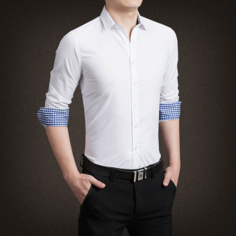 YMV Men's Korean-style Business Long Sleeve Solid Color Shirt (C13Bai)