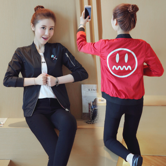 Yonshine Women's Korean-style Baseball Jacket & Quilted (8835 black (can be double-sided wear))