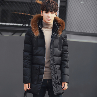 Youth mid-length thick Plus-sized jacket winter New style coat (Black)