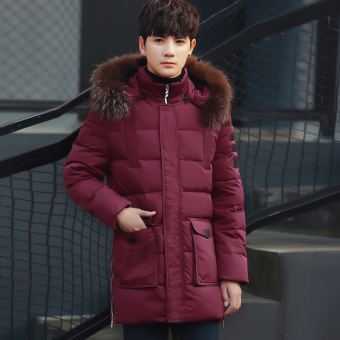 Youth mid-length thick Plus-sized jacket winter New style coat (Wine red color)