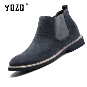 Yozo Men'S Shoes Chelsea Boots Genuine Leather Formal Fashion Shoes Slip On Men'S Shoes(Grey) - intl