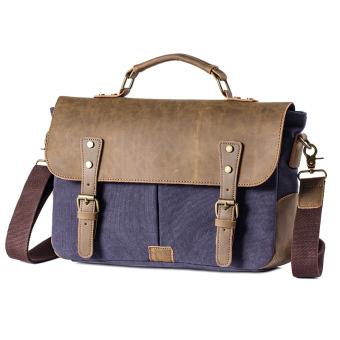 YUFANG British canvas men messenger bag men's handbag (Blue/Black)