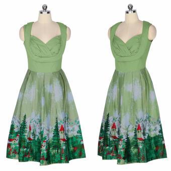 Zaful Women Fashion Vintage Printing Sleeveless Dress Retro Style Defined Waist Elegant - intl - 4