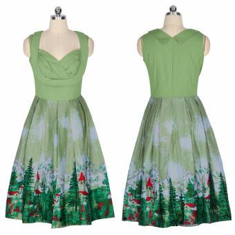 Zaful Women Fashion Vintage Printing Sleeveless Dress Retro Style Defined Waist Elegant - intl - 3