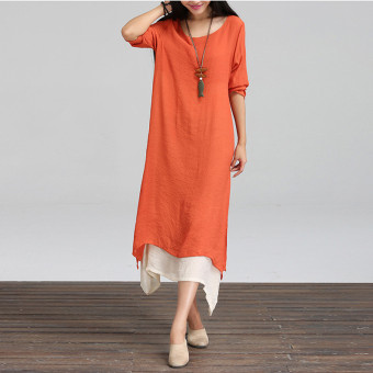 ZANZEA 2017 New Fashion Cotton Linen Vintage Dress Women Casual Loose O Neck Boho Long Maxi Dresses Plus Size Vestidos Orange