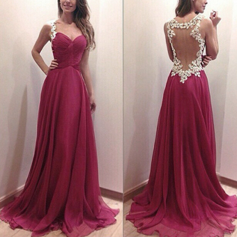 ZANZEA 2017 Party Ball Prom Gown Formal Bridesmaid Cocktail Lace Long Dress M-XL Red - intl Price Philippines