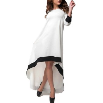 ZANZEA Autumn 2016 Fashion Womens Patchwork Asymmetrical Dress 3/4 Sleeve O Neck Vestidos Plus Size S-5XL - 2