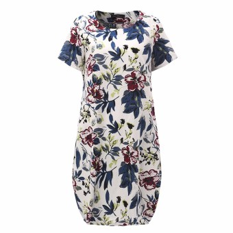 ZANZEA Boho Style Printed Floral Dress 2016 Summer Womens Short Sleeve Dresses Casual Vintage Vestido Plus Size S-5XL - intl - 5