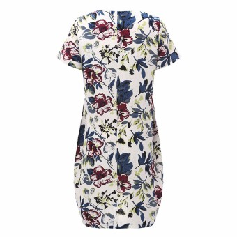 ZANZEA Boho Style Printed Floral Dress 2016 Summer Womens Short Sleeve Dresses Casual Vintage Vestido Plus Size S-5XL - intl - 4