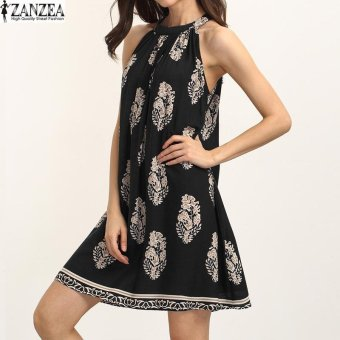 ZANZEA Boho Women Cold Shoulder Loose Tunic Summer Beach PartyShort Mini Dress (Black) - intl Price Philippines