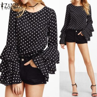 ZANZEA Fashion Women's Bell Sleeve Loose Polka Dot Shirt Ladies Casual Blouse Tops Plus Size - intl