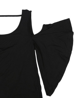 ZANZEA Fashion Womens Off Shoulder Blouse Summer New Ladies Short Sleeve Backless Solid Tops Plus Size Shirts Black - intl - 5