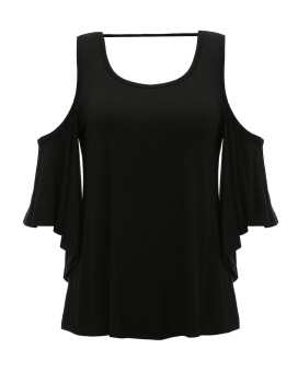ZANZEA Fashion Womens Off Shoulder Blouse Summer New Ladies Short Sleeve Backless Solid Tops Plus Size Shirts Black - intl - 4