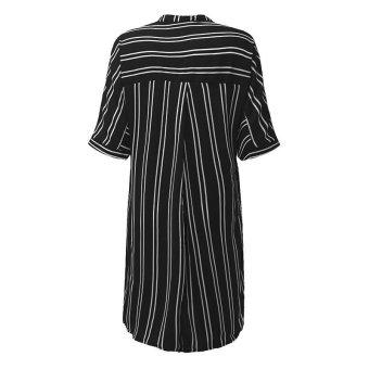 ZANZEA Hot Sale Women Summer Dress Sexy V-Neck Short Sleeve CasualLoose Striped Shirt Dress Mini Vestidos Plus Size (Black) - intl - 5