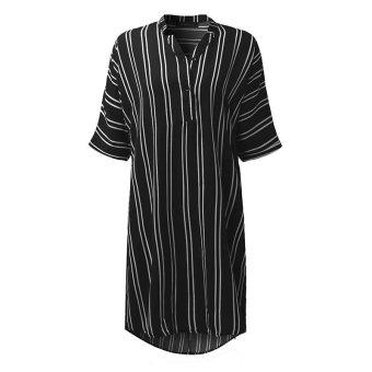 ZANZEA Hot Sale Women Summer Dress Sexy V-Neck Short Sleeve CasualLoose Striped Shirt Dress Mini Vestidos Plus Size (Black) - intl - 4