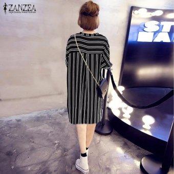 ZANZEA Hot Sale Women Summer Dress Sexy V-Neck Short Sleeve CasualLoose Striped Shirt Dress Mini Vestidos Plus Size (Black) - intl - 3