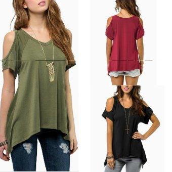 Zanzea Off Shoulder Short Sleeve Blouse (Black) - 3