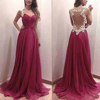 ZANZEA Party Ball Prom Gown Formal Bridesmaid Cocktail Lace Long Dress M-XL Red - intl Price Philippines